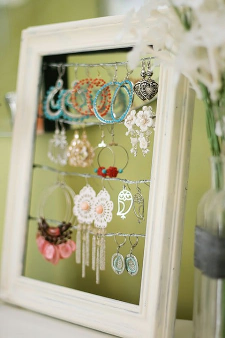 Turn A Broken Picture Frame Into An Earring Holder