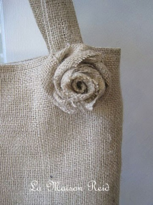 Burlap Tote with Shabby Rose