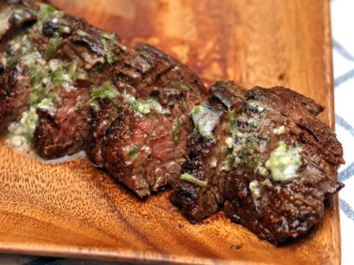 Grilled Chipotle-Rubbed Steaks with Lime Butter
