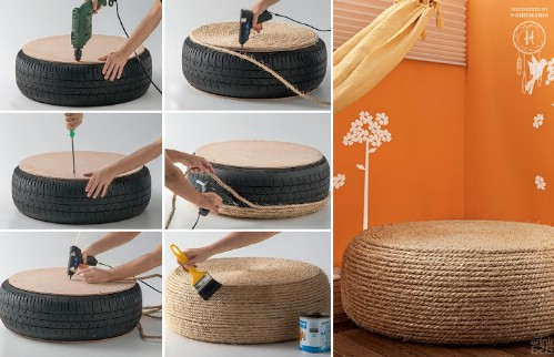 20 genius ways to repurpose old tires into something new and diy instructions and project credit handimania a rope ottoman solutioingenieria Gallery