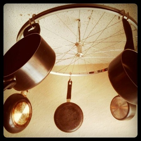 Turn A Broken Bicycle Into a Pot and Pan Rack
