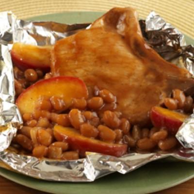 Pork Chop Apple Bean Packets