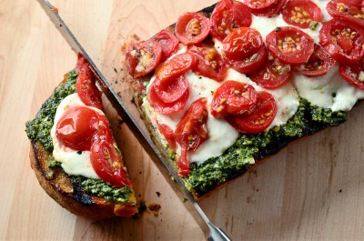 Grilled Bread with Pesto