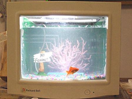 Turn A Broken Computer Monitor Into An Aquarium