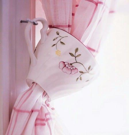 Use Chipped Teacups As Curtain Tiebacks