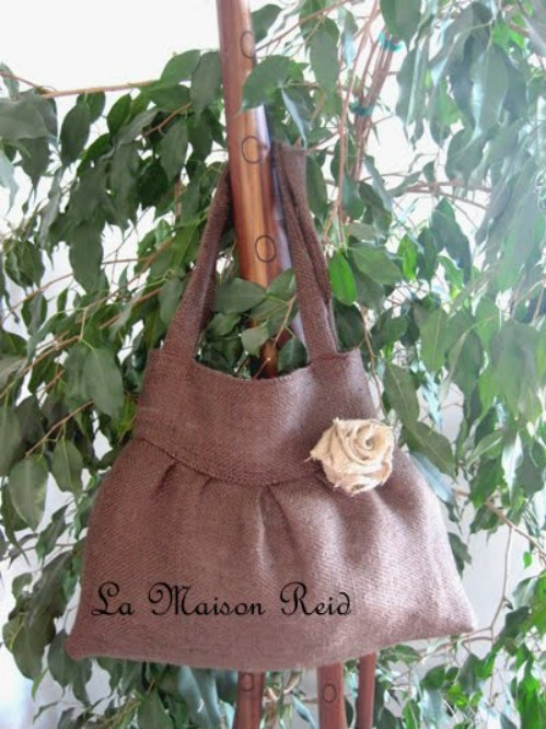 Burlap Purse with Shabby Rose Decoration
