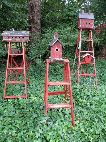 Make Birdhouse Stands From Broken Ladders