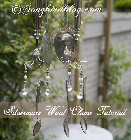Use Broken Dishes And Silverware To Make Wind Chimes