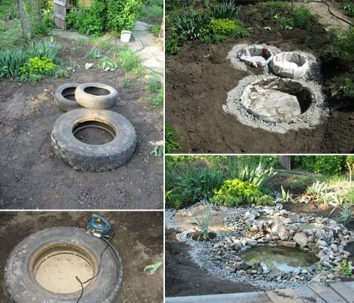 a garden pond - Garden Ideas Using Tyres