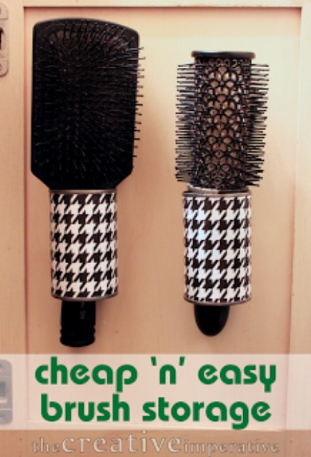 Empty Tin Cans Make Great Hairbrush Holders