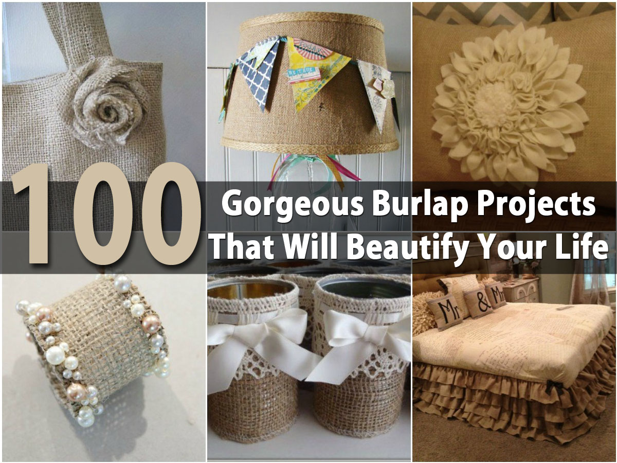 100 gorgeous burlap projects that will beautify your life Burlap bag decorating ideas