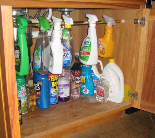 Clean Up Under The Sink With Shower Rods