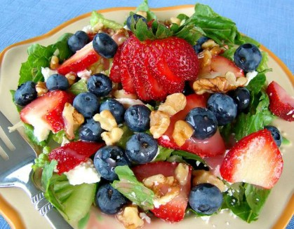 Red White and Blue Berry Green Salad