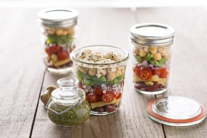 Layered Bean Salad with Feta Cheese