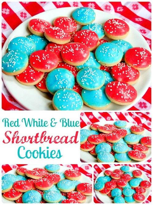 Patriotic Shortbread Cookies with Almond Glaze