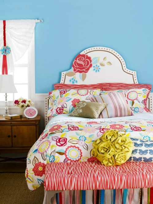 Painted Floral Headboard
