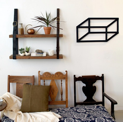 Recycled Wood and Leather Bookshelf