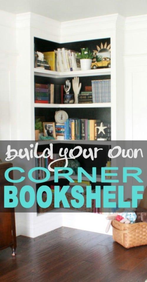 DIY Corner Bookshelves
