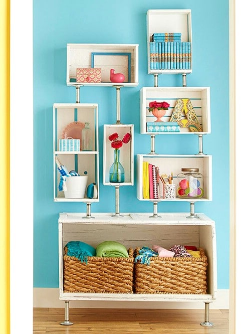 Crate and Pipe Shelf
