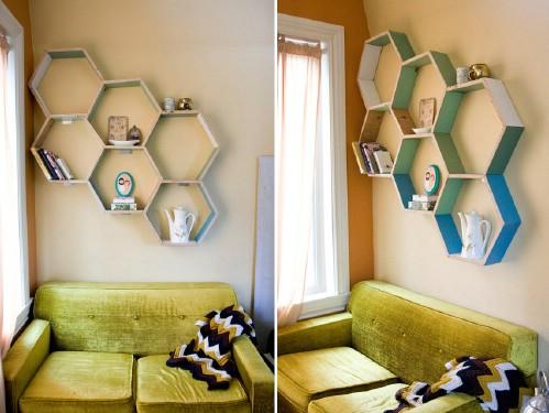 Reclaimed Wood Honeycomb Shelves