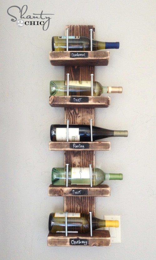 DIY Wooden Wine Shelf
