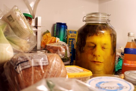 the pickled face in the fridge - Scary Diy Halloween Decorations