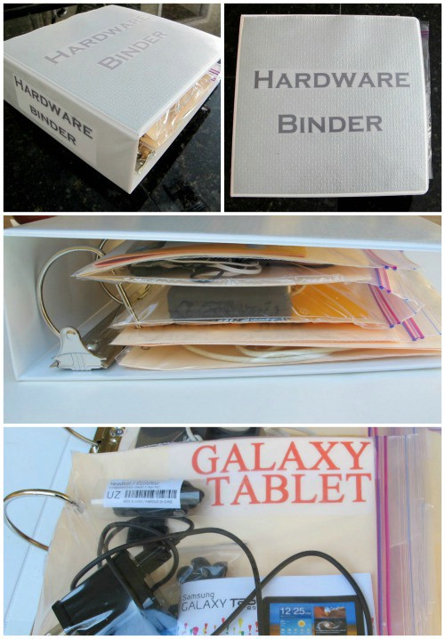 Hardware Binder – get those tangled cords in line