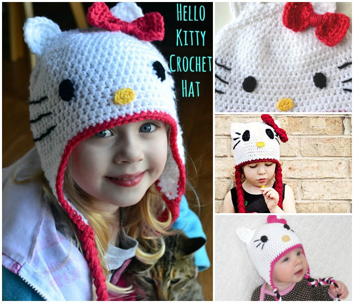 FREE Crochet Pattern  Gorgeous Hello Kitty Hat - DIY   Crafts a0dbb62d435