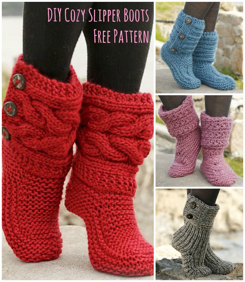 Knitted House Slippers Pattern : Cutest Knitted DIY: FREE Pattern for Cozy Slipper Boots ...