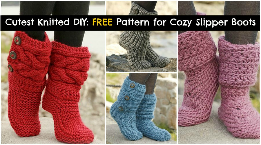 Knit Slippers Pattern Free : Cutest Knitted DIY: FREE Pattern for Cozy Slipper Boots - DIY & Crafts
