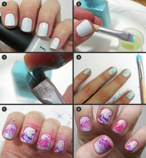 Splattered Nails - 40 DIY Nail Art Hacks That Are Borderline Genius - DIY & Crafts