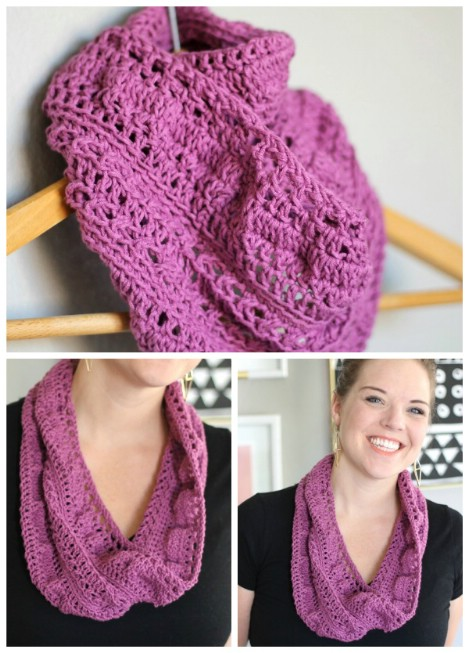 Pretty crocheted infinity scarf
