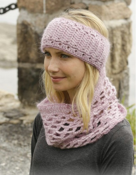 Knit infinity scarf and matching headband