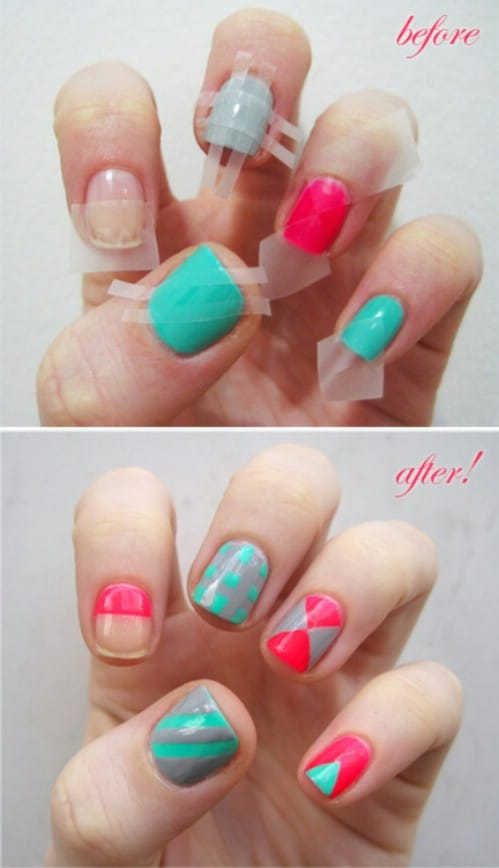 Scotch Tape is Your Friend - 40 DIY Nail Art Hacks That Are Borderline Genius - DIY & Crafts