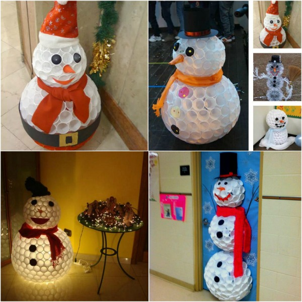 Creative winter craft diy snowman made from plastic cups for How to make winter crafts