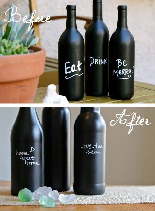 Chalkboard wine bottles.