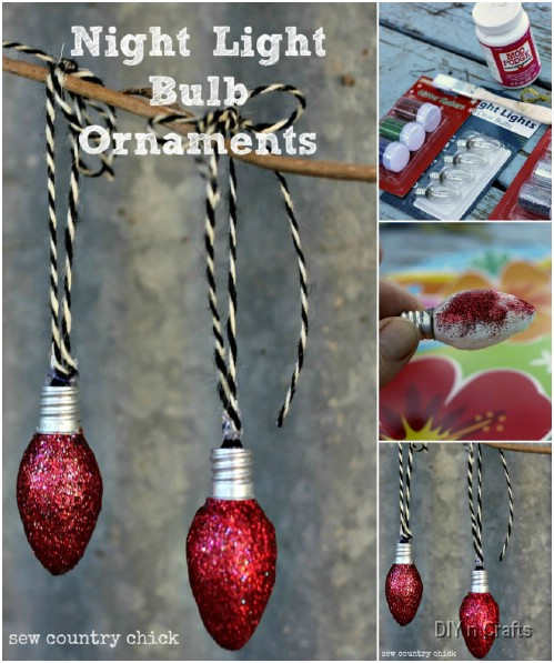 Glittery Ornaments - 10 Insanely Easy Christmas Light Bulb Decorations And Ornaments