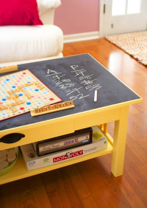 Chalkboard game table.