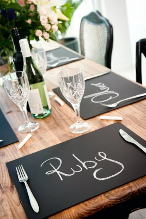 Chalkboard placemats.