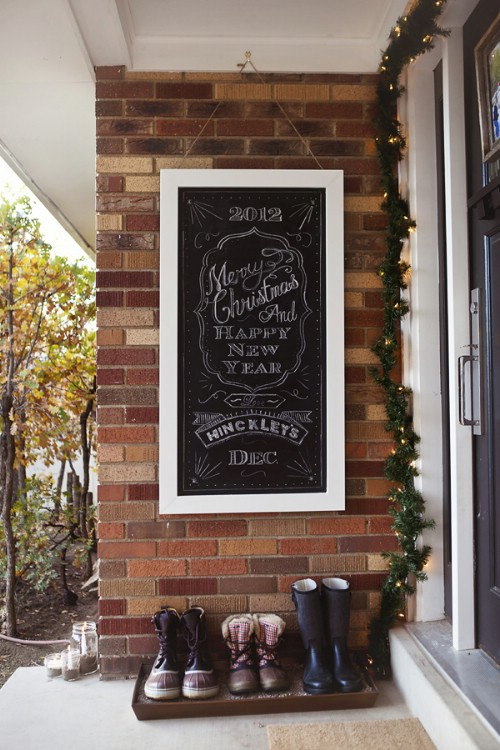 Chalkboard welcome sign.
