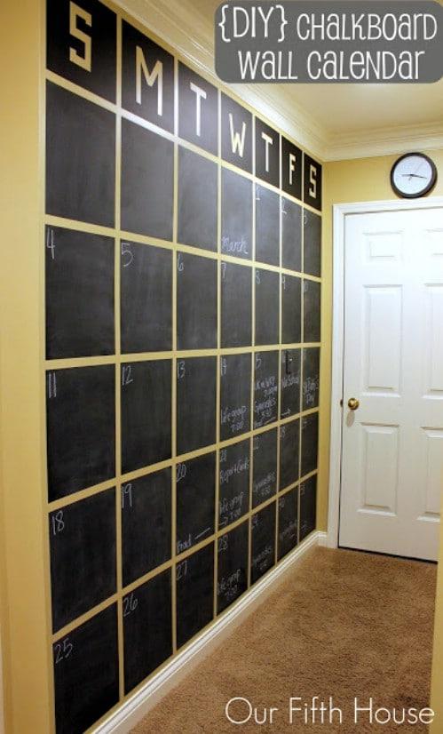 Chalkboard calendar.