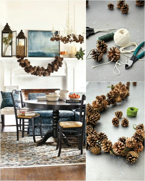 bushy pinecone garland - How To Decorate Pine Cones For Christmas Ornaments
