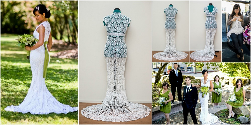 She Crocheted Her Stunning Wedding Dress Herself for Just $30 ...