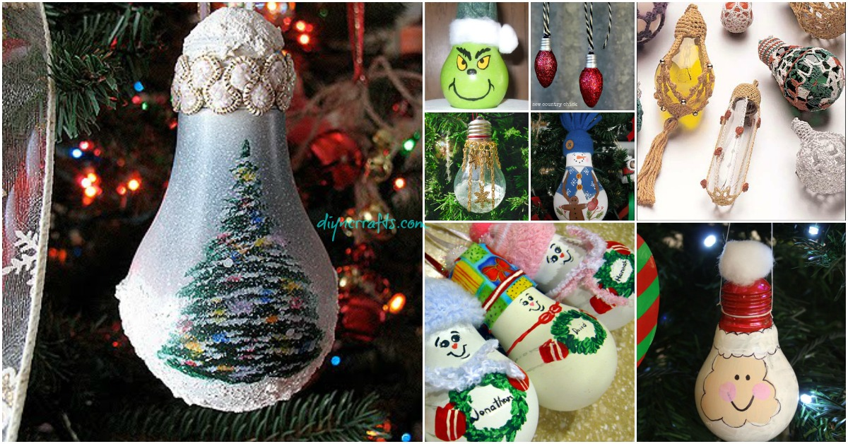 10 insanely easy christmas light bulb decorations and ornaments diy crafts - Christmas Bulb Decorations