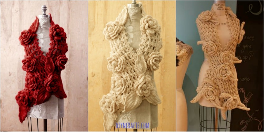 FREE Crochet Pattern: Gorgeous Irish lace Scarf with Roses - DIY ...