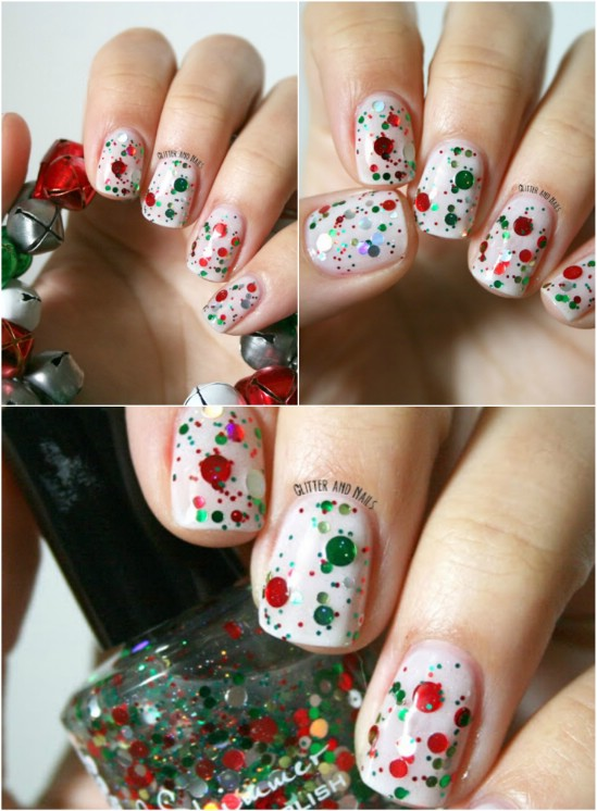 Red and Green Glitter - 20 Fantastic DIY Christmas Nail Art Designs That Are Borderline Genius