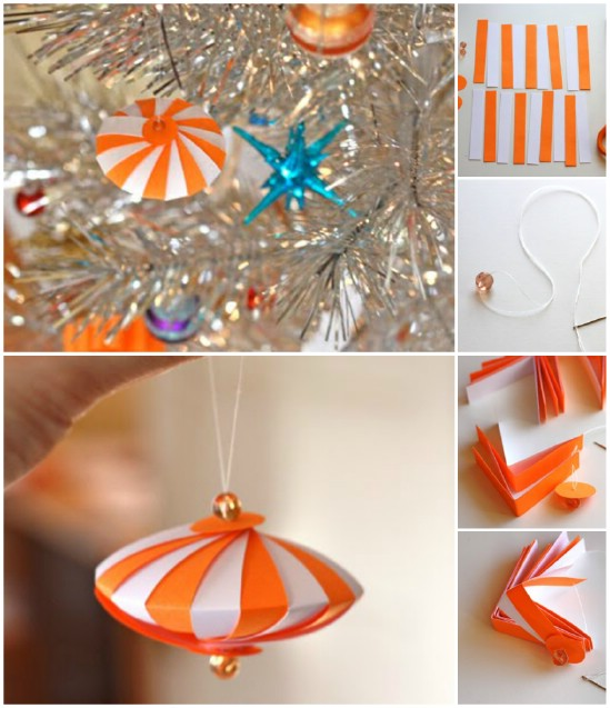 20 hopelessly adorable diy christmas ornaments made from paper diy striped spaceships solutioingenieria Choice Image