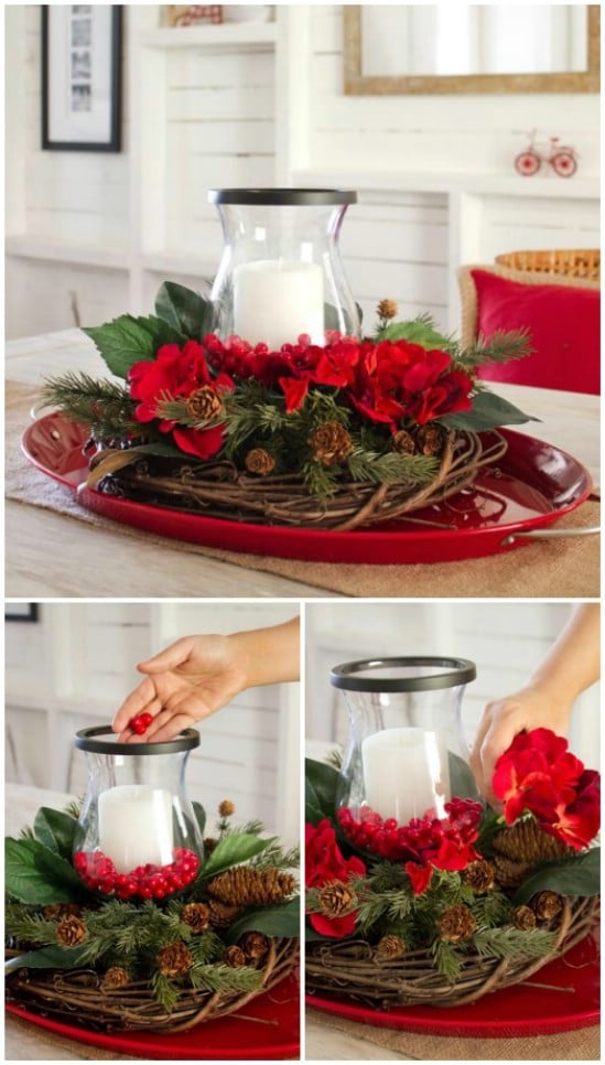 21 beautifully festive christmas centerpieces you can easily diy layered centerpiece solutioingenieria Images