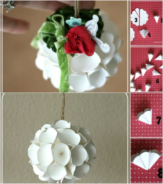 20 hopelessly adorable diy christmas ornaments made from paper diy scalloped ball solutioingenieria Choice Image