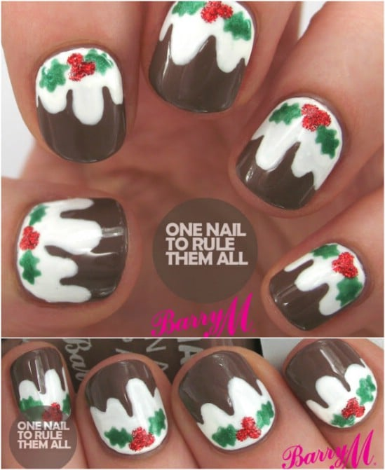 Christmas Pudding - 20 Fantastic DIY Christmas Nail Art Designs That Are  Borderline Genius - 20 Fantastic DIY Christmas Nail Art Designs That Are Borderline